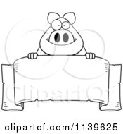 Black And White Chubby Pig Over A Banner