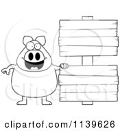 Black And White Chubby Pig With Wooden Signs