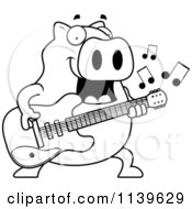 Cartoon Clipart Of A Black And White Chubby Pig Guitarist Vector Outlined Coloring Page