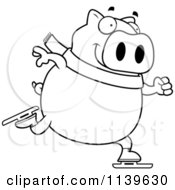 Cartoon Clipart Of A Black And White Chubby Pig Ice Skating Vector Outlined Coloring Page