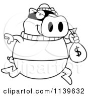 Black And White Pig Robbing A Bank