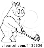 Cartoon Clipart Of A Black And White Golfing Pig Holding The Club Against The Ball On The Tee Vector Outlined Coloring Page by Cory Thoman