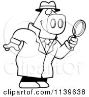 Cartoon Clipart Of A Black And White Pig Detective Using A Magnifying Glass Vector Outlined Coloring Page