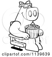 Cartoon Clipart Of A Black And White Pig Eating Popcorn And Watching A 3d Movie At The Theater Vector Outlined Coloring Page