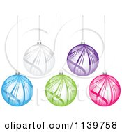 Clipart Of Colorful Swoosh Christmas Baubles Royalty Free Vector Illustration