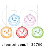 Clipart Of Colorful Smiley Face Christmas Baubles Royalty Free Vector Illustration