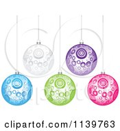 Clipart Of Colorful Circle Patterned Christmas Baubles Royalty Free Vector Illustration