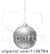 Clipart Of A Silver Crackle Christmas Bauble Royalty Free Vector Illustration