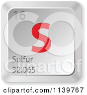 Clipart Of A 3d Red And Silver Sulfur Element Keyboard Button Royalty Free Vector Illustration