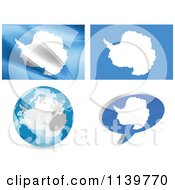 Clipart Of Antarctica Map Flags Globe And Chat Balloon Royalty Free Vector Illustration