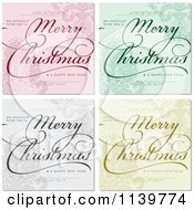 Clipart Of Merry Christmas And Happy New Year Greetings Over Ornate Backgrounds Royalty Free Vector Illustration