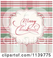 Clipart Of A Merry Christmas Greeting Frame Over Plaid Royalty Free Vector Illustration by BestVector