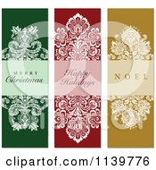 Clipart Of Green Red And Gold Ornate Damask Christmas Greetings Royalty Free Vector Illustration
