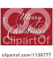 Clipart Of White Merry Christmas Greeting Text On Red With Swirls Royalty Free Vector Illustration by BestVector