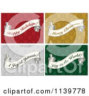Clipart Of Vintage Christmas Greeting Banner Scrolls On Damask Patterns Royalty Free Vector Illustration by BestVector