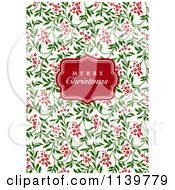 Clipart Of A Red Merry Christmas Greeting Frame Over Red And Green Vines Royalty Free Vector Illustration by BestVector