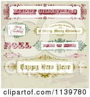 Clipart Of Retro Christmas And New Year Greeting Banners And Signs On Grunge Royalty Free Vector Illustration