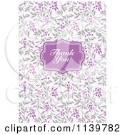 Clipart Of A Purple Thank You Frame Over Lilac Branches Royalty Free Vector Illustration