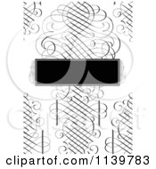 Clipart Of A Ornate Black And White Swirl Wedding Invitation Background With A Frame Royalty Free Vector Illustration
