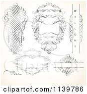 Clipart Of Ornate Vintage Victorian Swirl Designs And Frames Royalty Free Vector Illustration