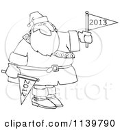 Cartoon Of An Outlined Santa Holding Up A New Year 2013 Flag And Down 2012 Royalty Free Vector Clipart