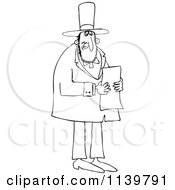 Cartoon Of Outlined Abraham Lincoln Reading A Letter Royalty Free Vector Clipart