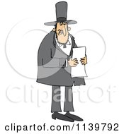 Cartoon Of Abraham Lincoln Reading A Letter Royalty Free Vector Clipart