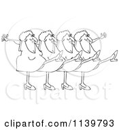 Cartoon Of An Outlined Chorus Line Of Old Ladies Dancing The Can Can Royalty Free Vector Clipart