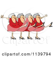 Cartoon Of A Chorus Line Of Old Ladies Dancing The Can Can Royalty Free Vector Clipart