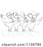 Outlined Chorus Line Of Men Dancing The Can Can