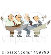 Cartoon Of A Chorus Line Of Men Dancing The Can Can Royalty Free Vector Clipart