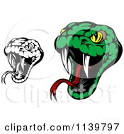 Clipart Of Biting Black And White And Green Viper Snakes Royalty Free Vector Illustration