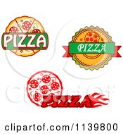 Clipart Of Pizza Pie Logos Royalty Free Vector Illustration