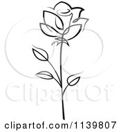 Clipart Of A Black And White Rose Flower 17 Royalty Free Vector Illustration