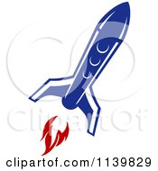 Clipart Of A Retro Blue Space Shuttle Rocket 7 Royalty Free Vector Illustration
