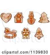 Clipart Of Gingerbread Christmas Cookies 1 Royalty Free Vector Illustration