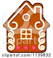 Clipart Of A House Gingerbread Christmas Cookie Royalty Free Vector Illustration