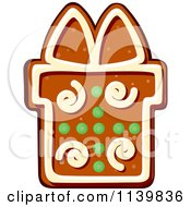 Clipart Of A Gift Gingerbread Christmas Cookie 1 Royalty Free Vector Illustration