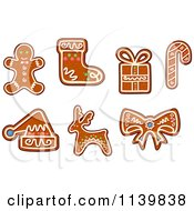 Clipart Of Gingerbread Christmas Cookies 2 Royalty Free Vector Illustration