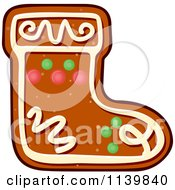 Clipart Of A Stocking Gingerbread Christmas Cookie Royalty Free Vector Illustration