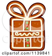 Clipart Of A Gift Gingerbread Christmas Cookie 2 Royalty Free Vector Illustration