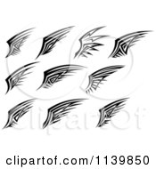 Clipart Of Black And White Wing Designs 3 Royalty Free Vector Illustration
