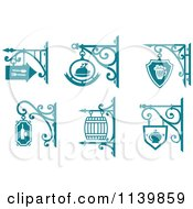 Clipart Of Teal Pub Cafe Restaurant Shingle Signs 2 Royalty Free Vector Illustration