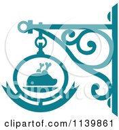 Clipart Of A Teal Restaurant Diner Shingle Sign 7 Royalty Free Vector Illustration