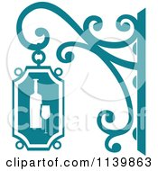 Clipart Of A Teal Wine Shingle Sign Royalty Free Vector Illustration