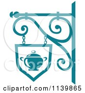 Clipart Of A Teal Restaurant Diner Shingle Sign 8 Royalty Free Vector Illustration
