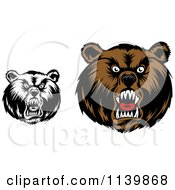 Clipart Of Black And White And Brown Mad Grizzly Bear Heads Royalty Free Vector Illustration