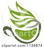Clipart Of A Cup Of Green Tea Or Coffee 8 Royalty Free Vector Illustration