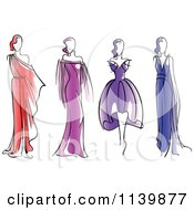 Clipart Of Models In Dresses Royalty Free Vector Illustration