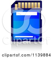 Clipart Of A Blue Memory Sd Camera Card Royalty Free Vector Illustration